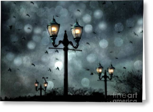 Street Lantern Greeting Cards - Surreal Fantasy Street Lamps Dreamy Flying Ravens Haunting Night Lights With Bokeh Greeting Card by Kathy Fornal