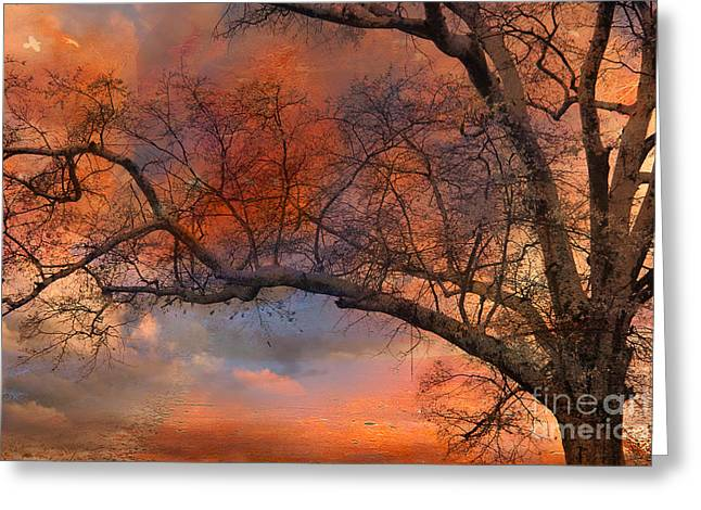 Surreal Fantasy Orange Sunset Trees Ethereal Landscape Greeting Card by Kathy Fornal
