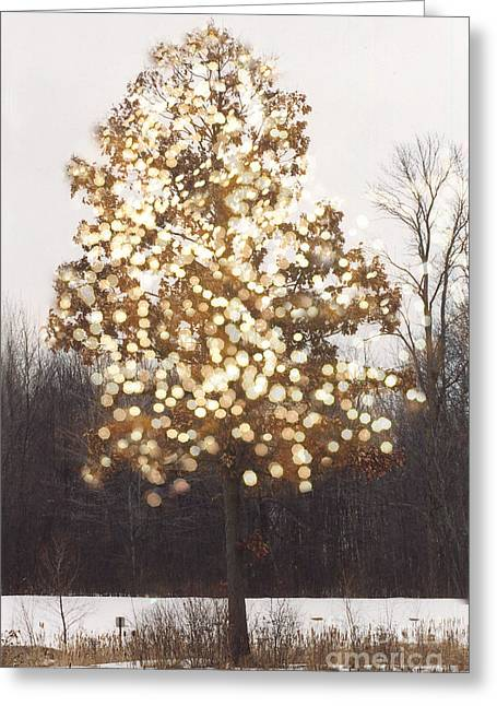 Surreal Fantasy Tree Nature Sparkling Lights Greeting Card by Kathy Fornal