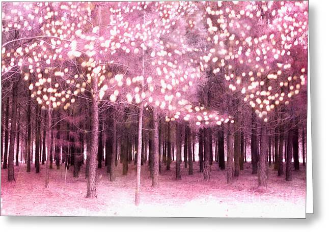 Surreal Pink Nature Prints By Kathy Fornal Greeting Cards - Surreal Fantasy Trees With Sparkling Lights - Pink Nature Trees Woodlands Greeting Card by Kathy Fornal