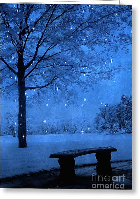 Surreal Dreamy Nature Photos Greeting Cards - Surreal Fantasy Winter Blue Tree Snow Landscape Greeting Card by Kathy Fornal