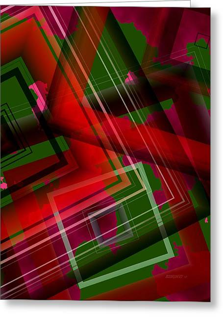 Geometric Greeting Cards - Surreal Geometry in Green and Red  Greeting Card by Mario  Perez