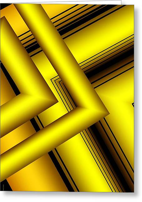 Transparency Geometric Greeting Cards - Surreal Geometry in Yellow Greeting Card by Mario  Perez