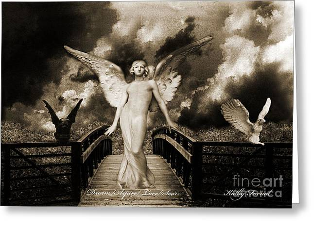 Dark Angels Greeting Cards - Surreal Gothic Angel With Gargoyle and Eagle Greeting Card by Kathy Fornal