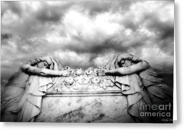 Black White Spiritual Angel Art Greeting Cards - Surreal Gothic Black and White Cemetery Mourners on Casket  Greeting Card by Kathy Fornal