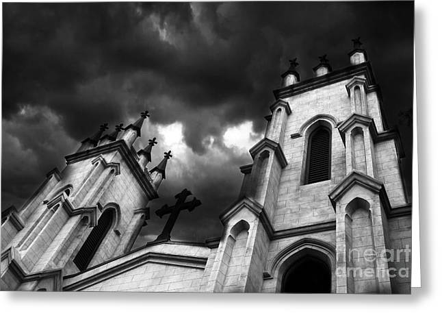 Surreal Gothic Church With Ravens Greeting Cards - Surreal Gothic Black and White Church Steeple With Cross - Haunting Spooky Surreal Gothic Church Greeting Card by Kathy Fornal