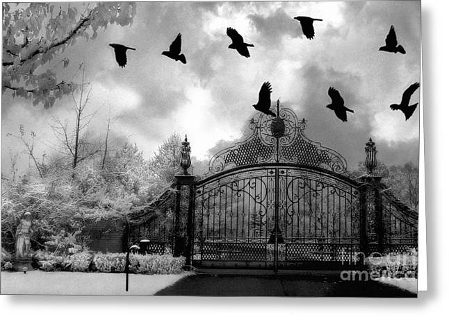 Surreal Gothic Black And White Gate With Flying Ravens  Greeting Card by Kathy Fornal