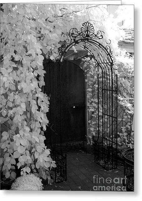 Surreal Infrared Dreamy Landscape Greeting Cards - Surreal Gothic Black and White Infrared Doorway Greeting Card by Kathy Fornal