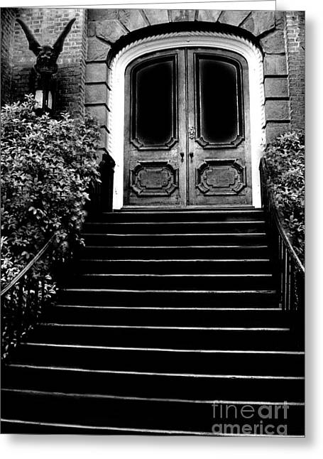 Gargoyles Greeting Cards - Charleston Surreal Gothic Black and White Staircase and Door With Gargoyle Greeting Card by Kathy Fornal