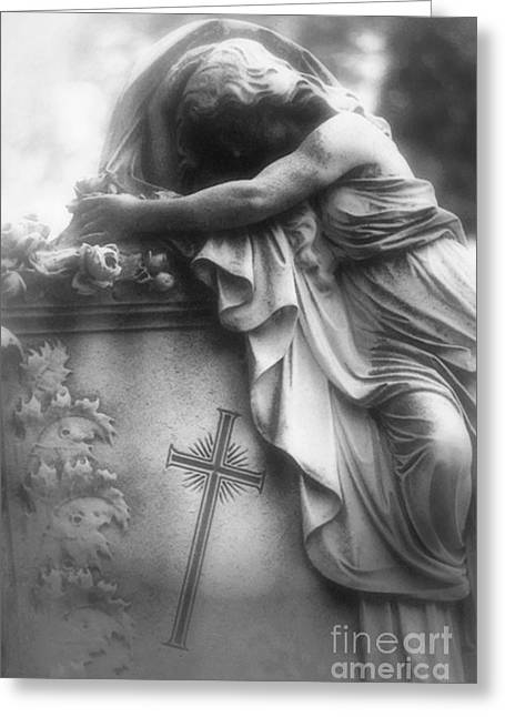 Black And White Photos Greeting Cards - Surreal Gothic Cemetery Angel Mourner Draped Over Coffin With Cross- Haunting Cemetery Sculpture Art Greeting Card by Kathy Fornal