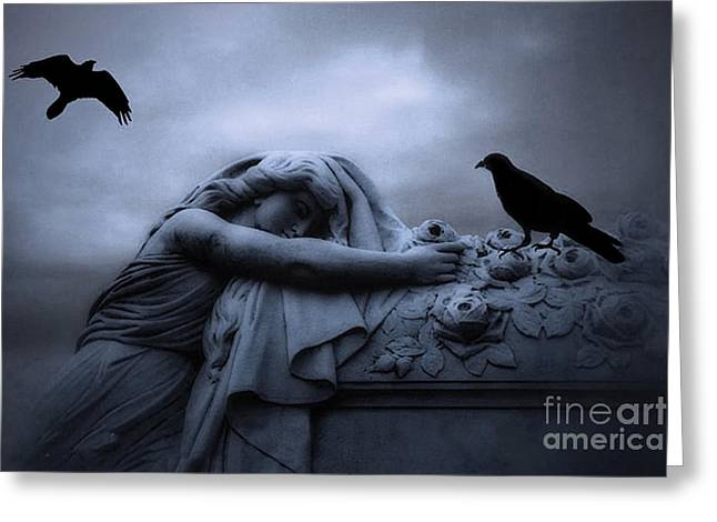 Dark Angels Greeting Cards - Surreal Gothic Cemetery Female Mourner Draped Over Coffin With Ravens - Surreal Blue Cemetery Art Greeting Card by Kathy Fornal