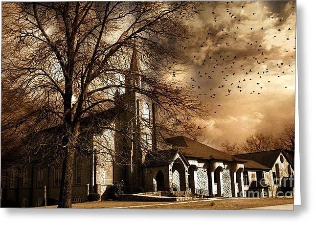 Surreal Photography Greeting Cards - Surreal Gothic Church Fall Autumn Dark Sky and Flying Ravens  Greeting Card by Kathy Fornal