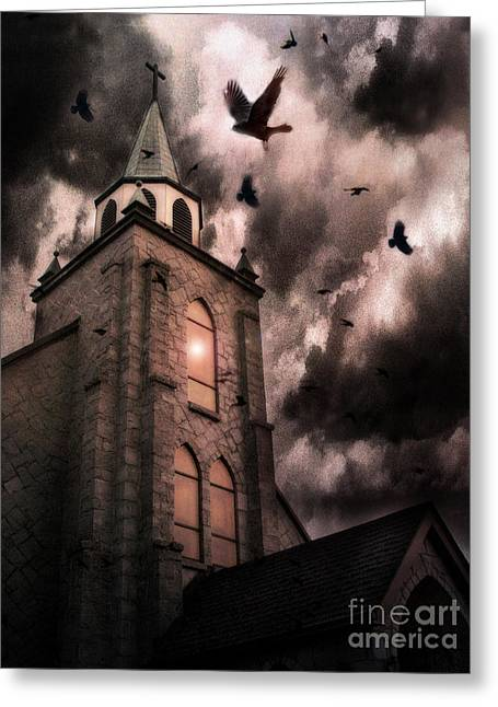 Brown And Sepia Ravens Photographs Greeting Cards - Surreal Gothic Church Storm Clouds Haunting Flying Ravens - Gothic Church Greeting Card by Kathy Fornal