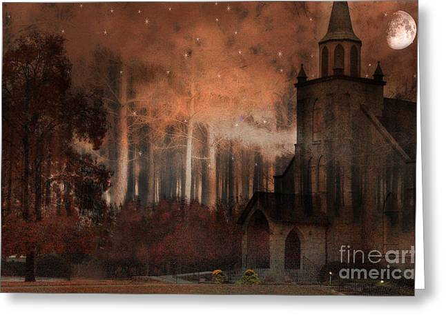 Brown Tone Greeting Cards - Surreal Gothic Church Autumn Fall Orange Brown With Full Moon and Stars Greeting Card by Kathy Fornal