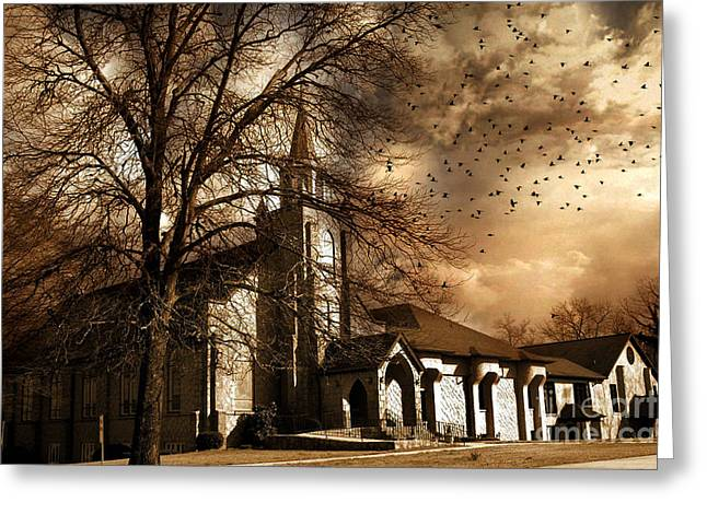 Surreal Gothic Church With Ravens Greeting Cards - Surreal Gothic Church With Storm Skies and Birds Flying Greeting Card by Kathy Fornal