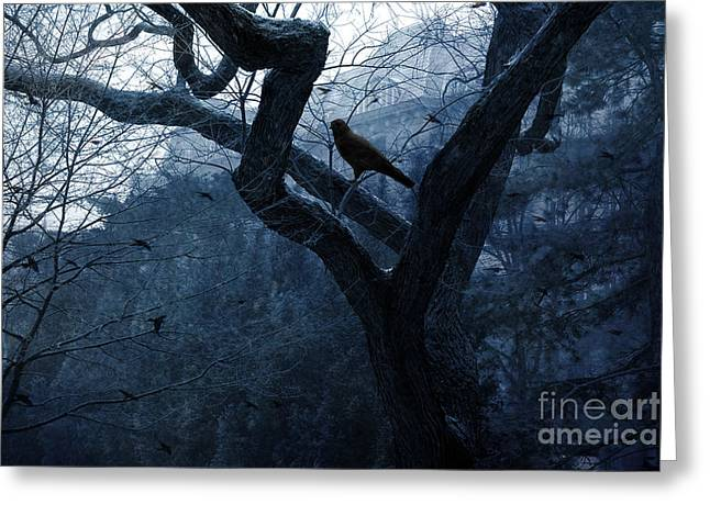 Crows In Trees Greeting Cards - Surreal Gothic Crow Haunting Tree Limbs - Haunting Sapphire Blue Trees  Greeting Card by Kathy Fornal