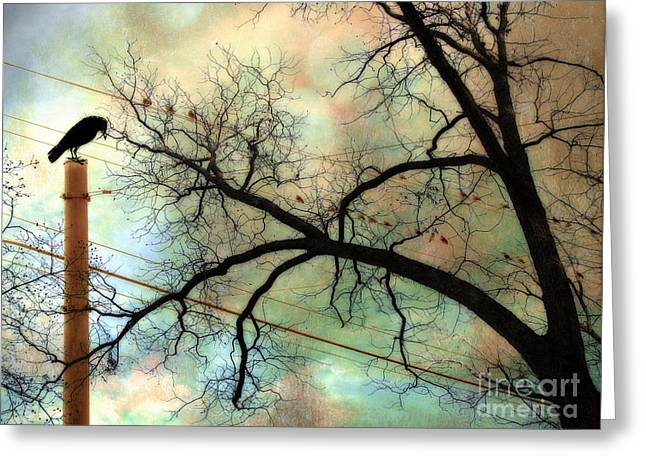 Bird On Tree Greeting Cards - Surreal Gothic Crow Ravens Birds Fantasy Nature  Greeting Card by Kathy Fornal