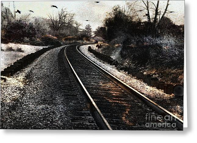 Photos Of Birds Greeting Cards - Surreal Gothic Dark Train Railroad Tracks With Flying Ravens Greeting Card by Kathy Fornal