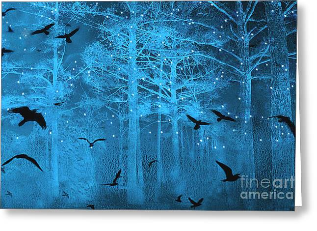 Tree Surreal Greeting Cards - Surreal Gothic Fantasy Blue Starry Woodlands Forest With Flying Ravens Greeting Card by Kathy Fornal