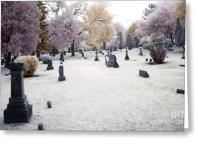 Halloween Art Greeting Cards - Surreal Gothic Fantasy Cemetery Graveyard Greeting Card by Kathy Fornal