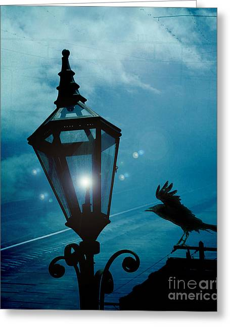 Crow Art Greeting Cards - Surreal Gothic Fantasy Dark Night Street Lantern With Flying Raven  Greeting Card by Kathy Fornal