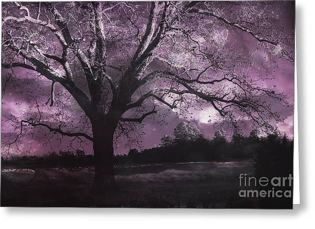 South Carolina Infrared Landscape Greeting Cards - Surreal Gothic Fantasy Purple Tree Landscape - Haunting Purple Lavender Gothic Infrared Tree Greeting Card by Kathy Fornal