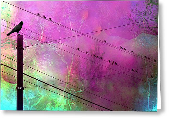Powerline Greeting Cards - Surreal Gothic Fantasy Raven Crows on Powerlines Greeting Card by Kathy Fornal