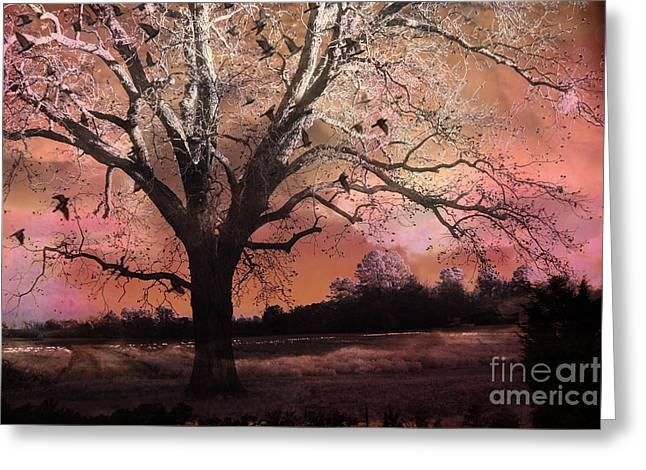 Surreal Fantasy Trees Landscape Greeting Cards - Surreal Gothic Fantasy Trees Pink Sky Ravens Greeting Card by Kathy Fornal
