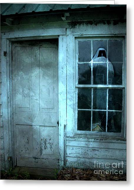 Grim Reaper Greeting Cards - Surreal Gothic Grim Reaper In Window - Spooky Haunted House Reflection In Window Greeting Card by Kathy Fornal