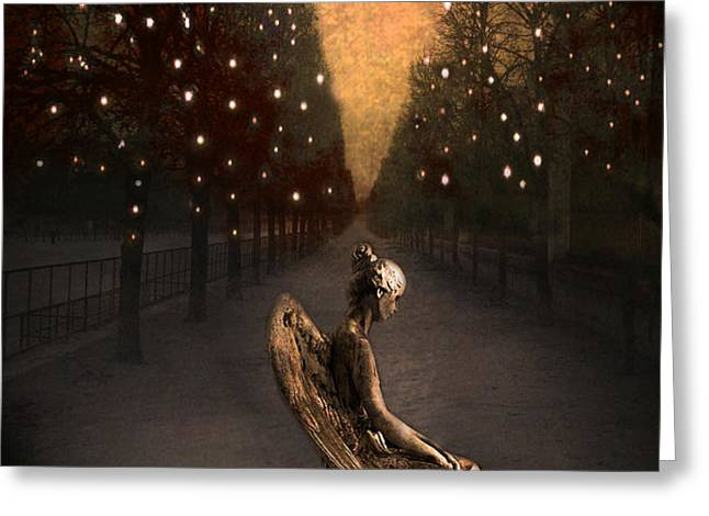 Surreal Gothic Haunting Emotive Paris Angel Art  Greeting Card by Kathy Fornal
