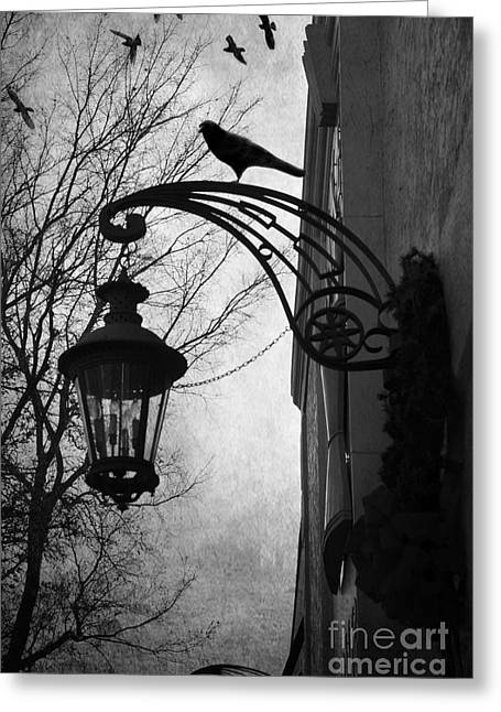 Street Lantern Greeting Cards - Surreal Gothic Haunting Street Lamps Lanterns With Ravens and Crows Greeting Card by Kathy Fornal