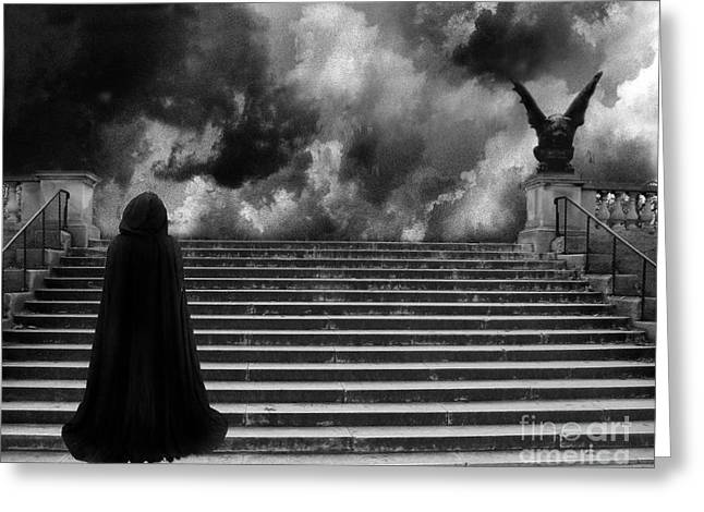 Surreal Infrared Photos By Kathy Fornal. Infrared Greeting Cards - Surreal Gothic Infrared Black Caped Figure With Gargoyle On Paris Steps Greeting Card by Kathy Fornal