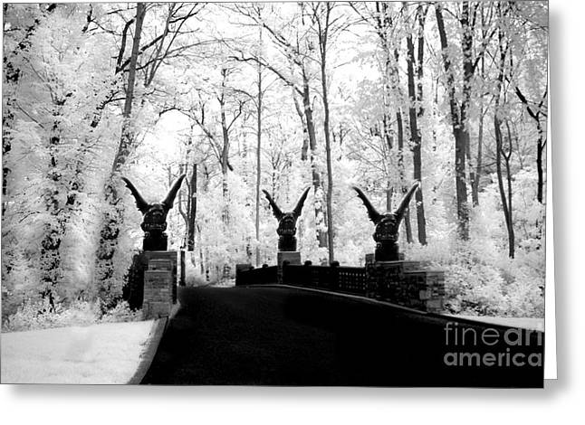 Surreal Images Greeting Cards - Surreal Gothic Infrared Black White Gargoyles - Surreal Fantasy Gargoyle Photography Greeting Card by Kathy Fornal