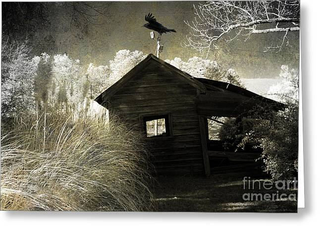 Surreal Infrared Photos By Kathy Fornal. Infrared Greeting Cards - Surreal Gothic Infrared Old Building With Raven Greeting Card by Kathy Fornal