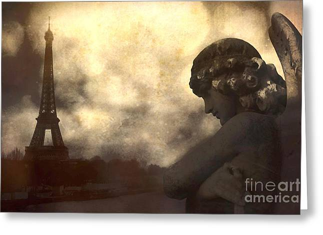 Angel Art Greeting Cards - Surreal Gothic Paris Eiffel Tower With Angel Statue Montage Greeting Card by Kathy Fornal