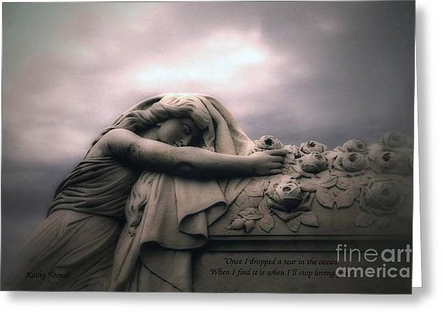 Coffin Greeting Cards - Surreal Gothic Sad Angel Cemetery Mourner - Inspirational Angel Art Greeting Card by Kathy Fornal