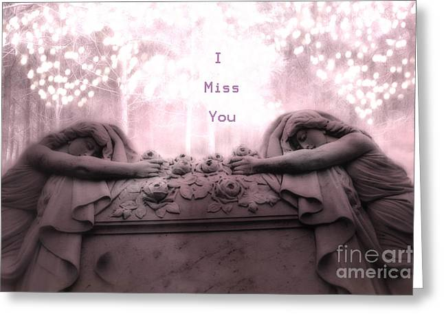Coffin Greeting Cards - Surreal Gothic Sad Angels Cemetery Mourners at Grave - I Miss You Greeting Card by Kathy Fornal