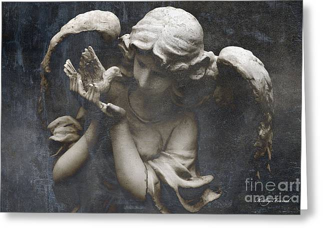 Sculpture Art Greeting Cards - Surreal Guardian Angel With Dove of Peace Greeting Card by Kathy Fornal