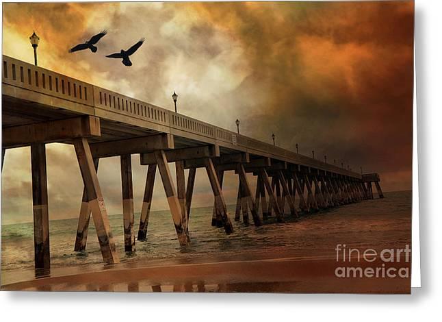 Flying Seagull Greeting Cards - Surreal Haunting Fishing Pier Ocean Coastal - North Carolina Coast Pier  Greeting Card by Kathy Fornal