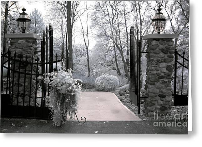 Dreamy Infrared Greeting Cards - Surreal Haunting Infrared Nature Gate Scene Greeting Card by Kathy Fornal
