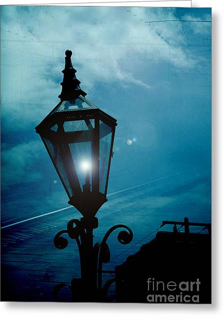 Night Scenes Greeting Cards - Surreal Haunting Night Lantern Overlooking Railroad Tracks Greeting Card by Kathy Fornal