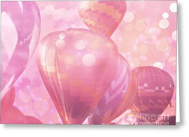 Balloon Art Print Greeting Cards - Surreal Hot Air Balloons Fantasy Fairytale Print - Hot Pink Hot Air Balloons Festival Art  Greeting Card by Kathy Fornal