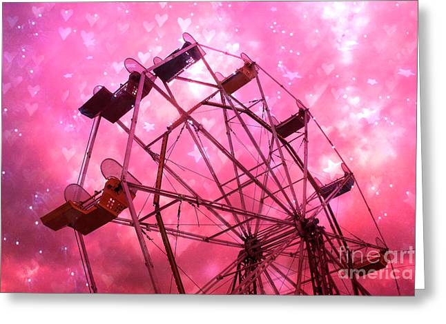 Carnival Fun Festival Art Decor Greeting Cards - Surreal Hot Pink Ferris Wheel Stars and Hearts Greeting Card by Kathy Fornal