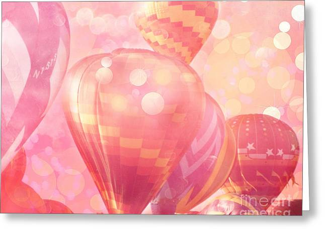 Hot Air Greeting Cards - Surreal Hot Pink Orange and Yellow Hot Air Balloons - Hot Air Balloons Festival Fantasy Art Prints Greeting Card by Kathy Fornal
