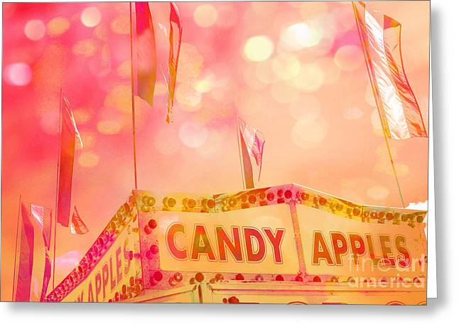Festival Art Decor Greeting Cards - Surreal Hot Pink Yellow Candy Apples Carnival Festival Fair Stand Greeting Card by Kathy Fornal