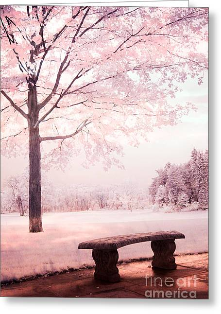 Dreamy Pink Nature Photos By Kathy Fornal Greeting Cards - Surreal Infrared Dreamy Pink and White Park Bench Tree Nature Landscape Greeting Card by Kathy Fornal