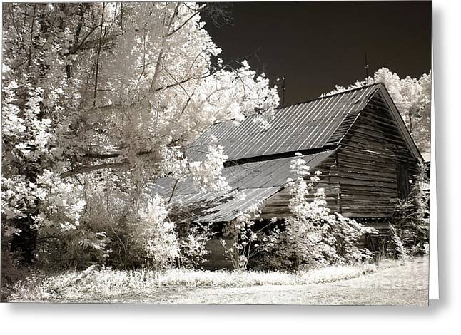 Barn Landscape Photographs Greeting Cards - Surreal Infrared Sepia Barn Farm Landscape Greeting Card by Kathy Fornal