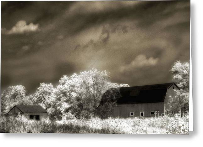 Surreal Dreamy Nature Photos Greeting Cards - Surreal Infrared Sepia Rural Barn Landscape Greeting Card by Kathy Fornal