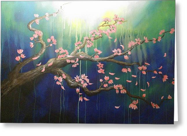 Cherry Blossoms Paintings Greeting Cards - Surreal Greeting Card by Michael Posey