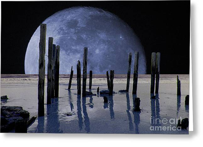 Ghostly Greeting Cards - Surreal Moon Greeting Card by John Wallace